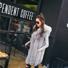 2016 Autumn Winter Fur Vests Women Faux Fur Vest Femme Grey Warm Fourrure Vests Fashion Luxury Peel Women's Jacket Gilet Veste