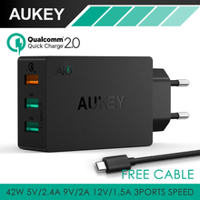 Aukey carga rápida QC 2.0 42 W 3 Ports pared cargador de viaje 2 Port 5 V / 2.4A 1 Port carga rápida 2.0 para el Smartphone