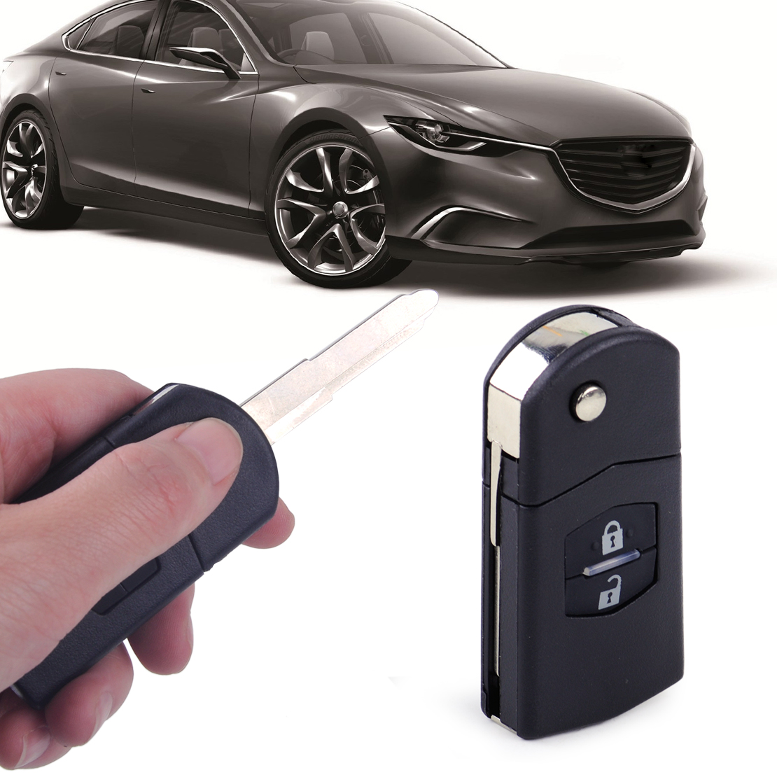New 2 Buttons Remote Folding Key Case Keyless Remote Key Shell Replacement Flip Shell Case Uncut Blank for 2004 2005 2006 2007 2008 2009 2010 2011 2012 2013 MAZDA 3