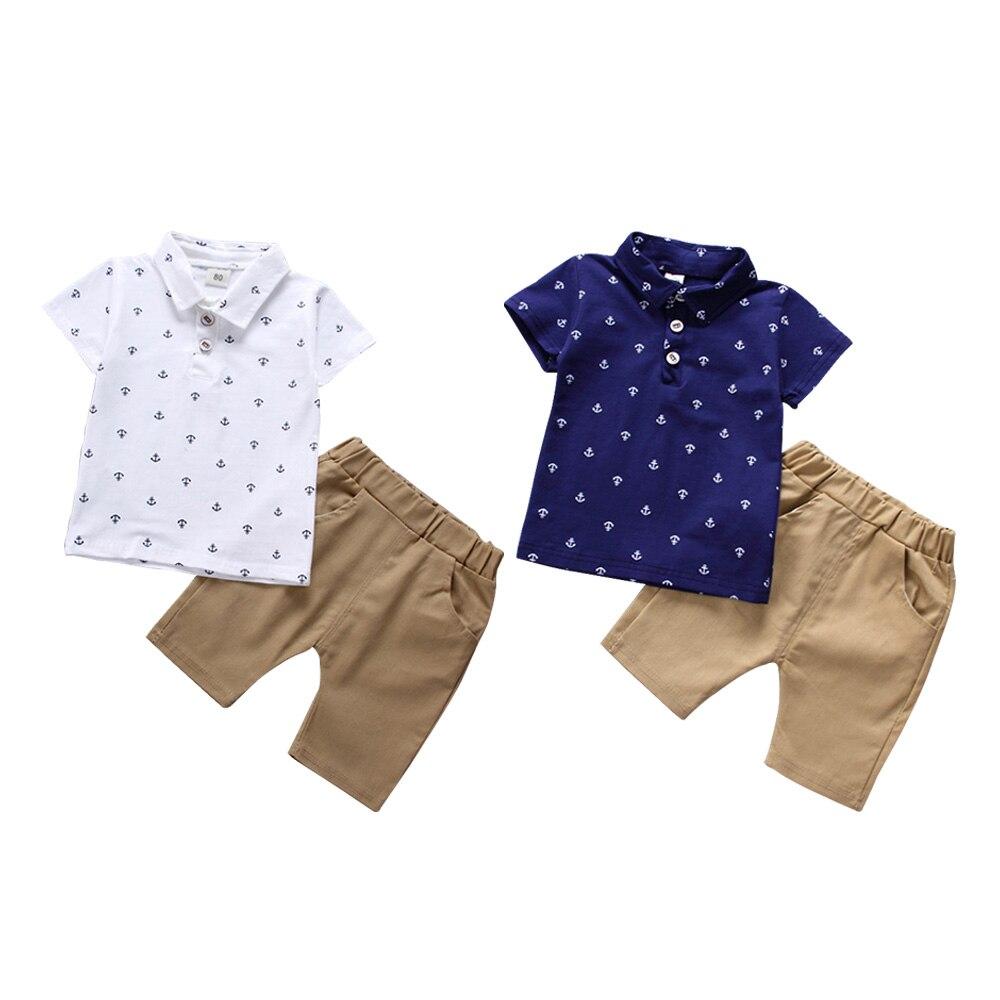 2 Stücke Baby Jungen Sommer Kleidung Set Mode Kurze-hülse Anker Print Polo T-shirt + Shorts Casual Kleidung Anzug Kinder Kleidung Zu Den Ersten äHnlichen Produkten ZäHlen