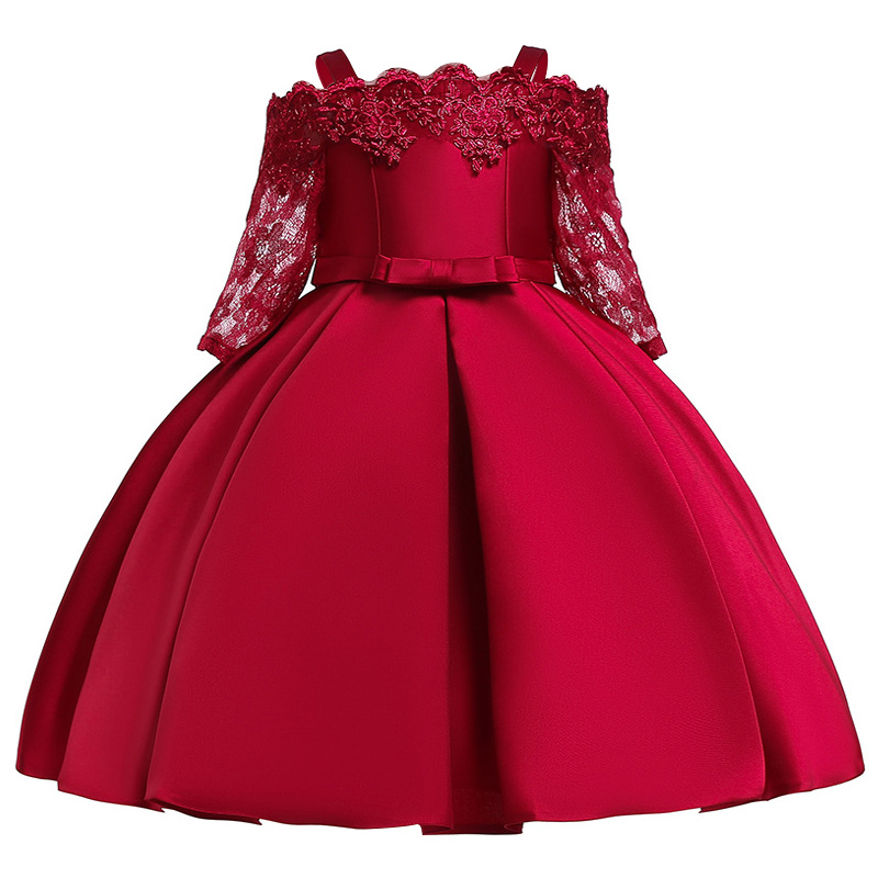 2019   Flower     Girls     dress   for   Girls   Kids Clothing Satin Elegent Lace cutout Shoulderless   Girls     Dresses   for Children Party Custumes