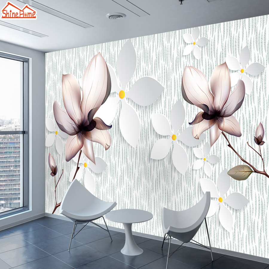 8d Crystal Silk Murals Wallpaper 3d Contact Wall Paper Papers Home Decor Wallpapers For Living Room Kids Self Adhesive Floral