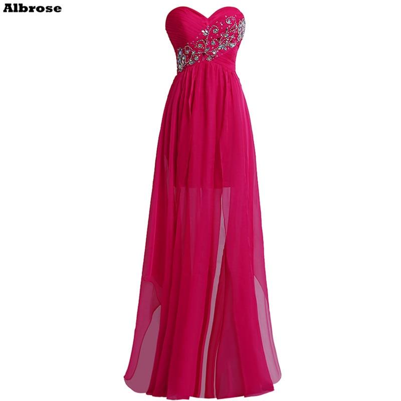 Sexy Backless Vestido de Noite Rose Red Chiffon Vestidos de Noite Longo de Cristal Frisado Querida Vestidos de Festa Formal Vestido de Festa