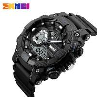 SKMEI 1228 Men Digital Sports Wristwatches Shock Resistant Waterproof Chronograph Alarm Clock Dual Time Display Military