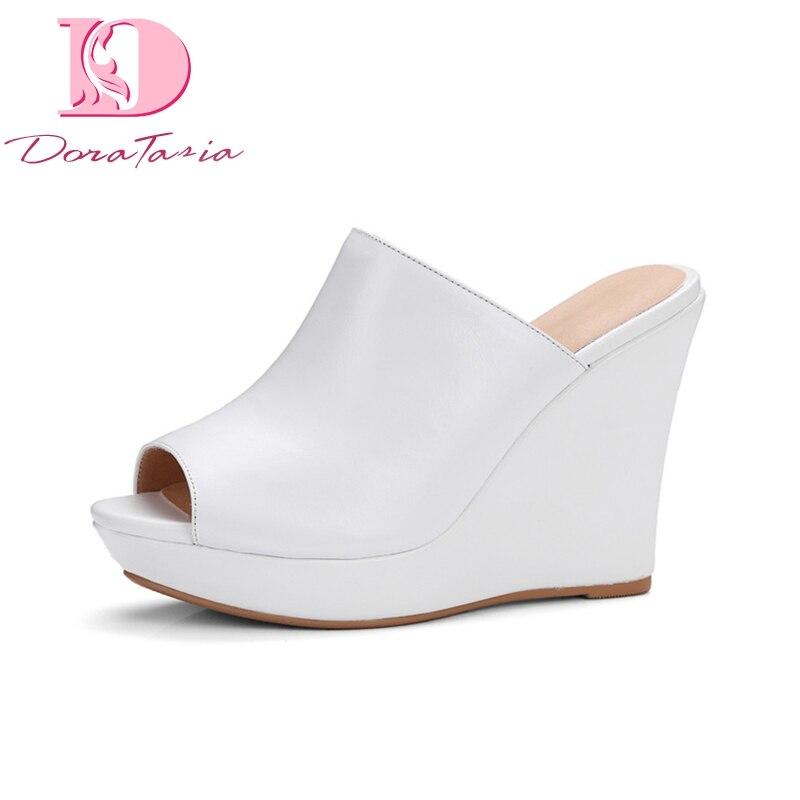 DoraTasia tout nouveau cuir véritable cales plate forme meilleure qualité chaussures femme décontracté été pompes noir-in Escarpins femme from Chaussures    1