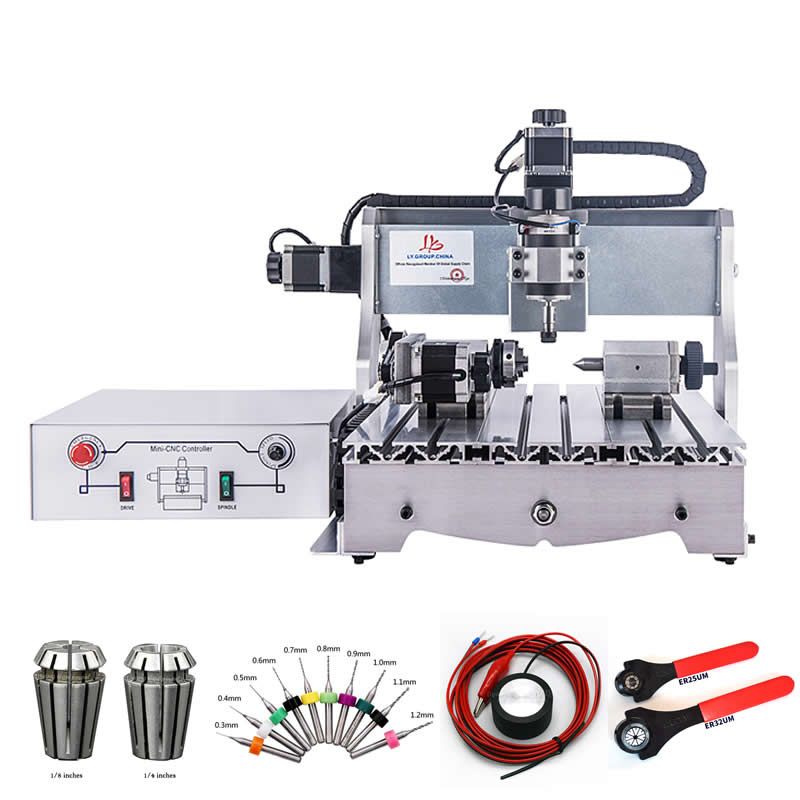 Cnc Router 4030 Mini Cnc Engraving Machine 3040 Rotary Axis 4 Axis Cnc Tools ER11 Collet