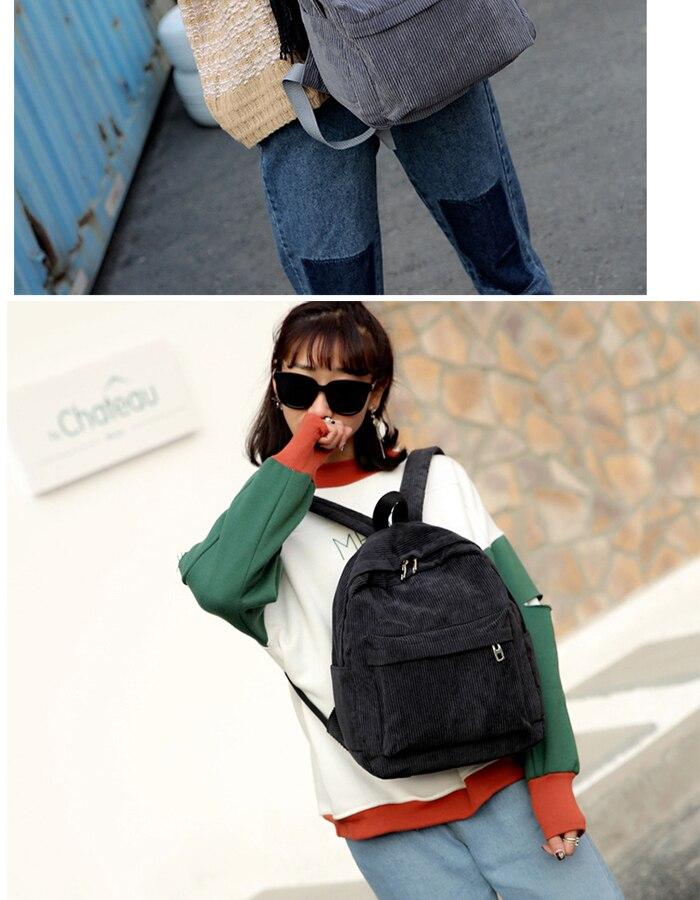 HTB1X2hDM6DpK1RjSZFrq6y78VXaZ 2019 New Corduroy Women Backpack Pure Color Women Travel Bag Fashion Double Backpack Female Mochila Bagpack Pack Design
