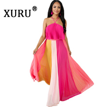 цены XURU New Women's Sexy Halter Halter Dress Two-Piece Striped Pleated Contrast Irregular Dress