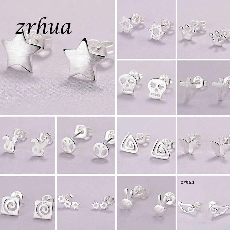 ZRHUA Newest 925 Silver Needle Women's Jewelry Fashion Cute Chic Stud Earrings for School Girls Kids Lady Birthday Accessories