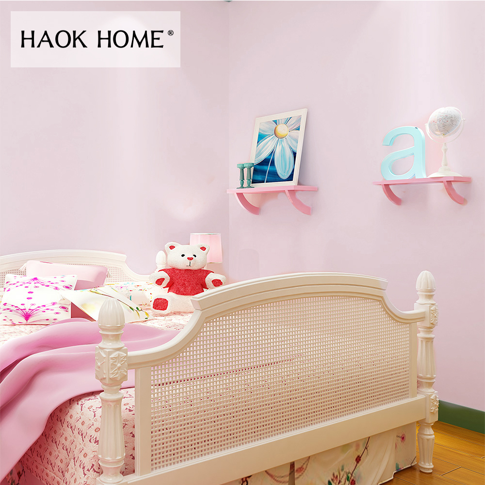HaokHome Classic Solid Color Peel and Stick Wallpaper Self-Adhesive Sticker Pink Contact Paper Living Room Bedroom Home Decor