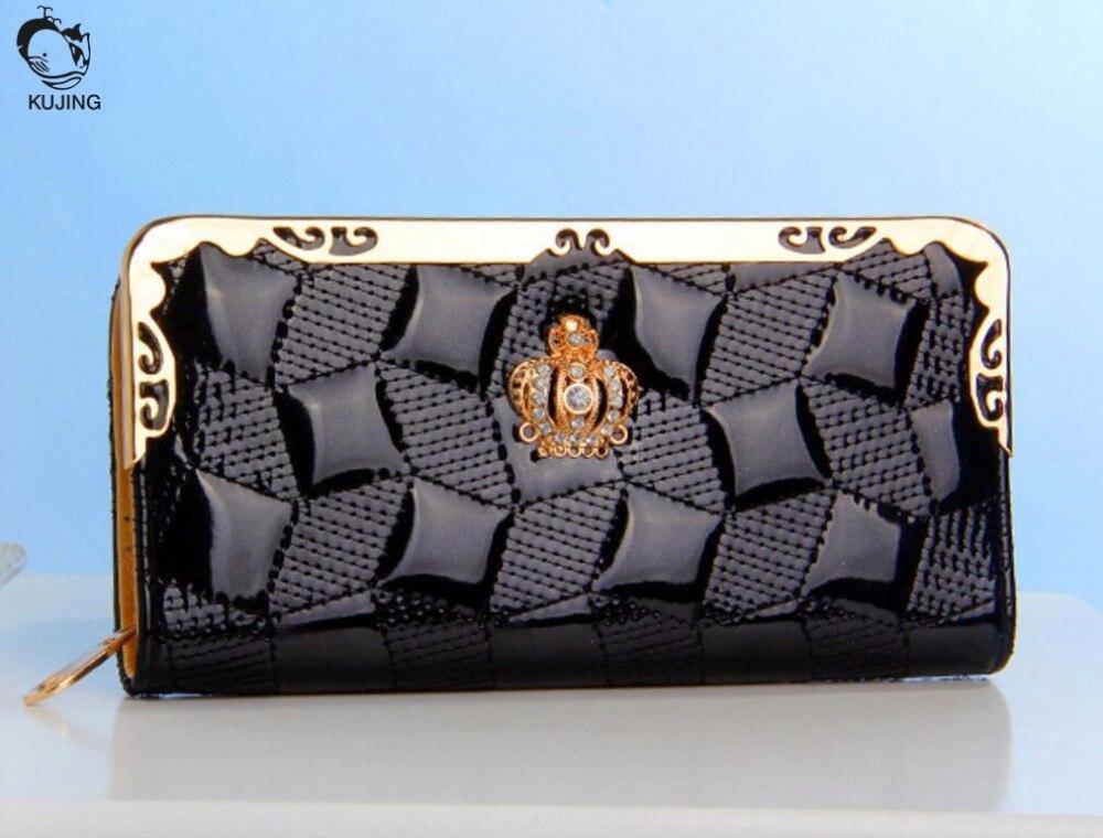 KUJING гаманець високої якості мода Lingge жінок гаманець безкоштовна доставка корона лакованої мульти-картка біт дешево випадковий гаманець