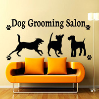 New arrival Dog Grooming Salon Paw Print Removable Home Decor Three Dogs Wall Sticker Removable PVC Waterproof Wall Decals