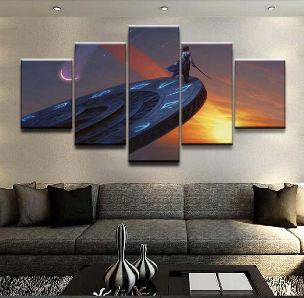 Canvas HD Printed Pictures Frame Home Decorative 5 Pieces Gathering Magic Landscape Poster Painting For Living Room Wall Art in Painting Calligraphy from Home Garden
