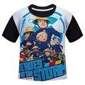 Fireman sam 2016 Nueva llegada Embroma la Ropa camisetas Ropa de Verano niño niños casual Tops camiseta corta de algodón de los niños