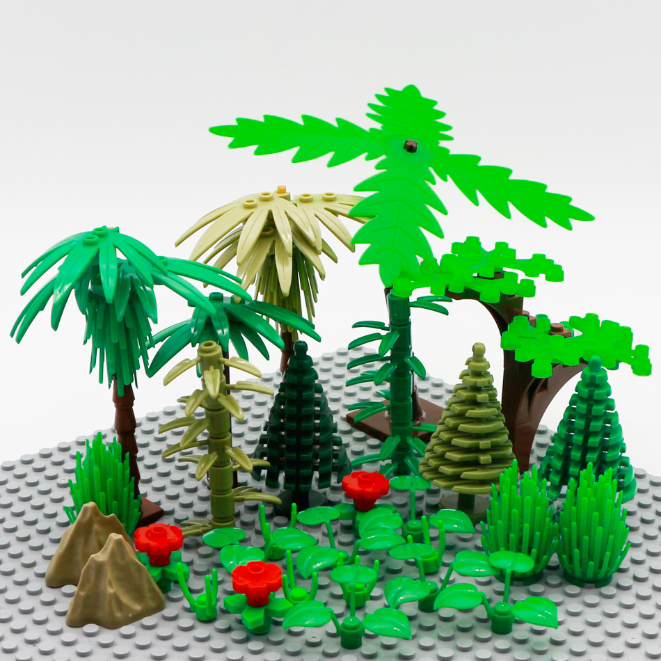 City Accessories Building Blocks Figure Accessory Military Tree Grass Flower Leaf Bush DIY MOC Bricks Toy Compatible Legoed City