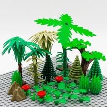 MOC Brick Tree City Accessories Creator Building Blocks Figure Accessory Military Grass Flower Leaf Bush DIY Toys For Children