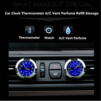 Car Clock Watch Thermometer Air Outlet A C Vent Clip Perfume Refill Storage Fragrance Reserve For