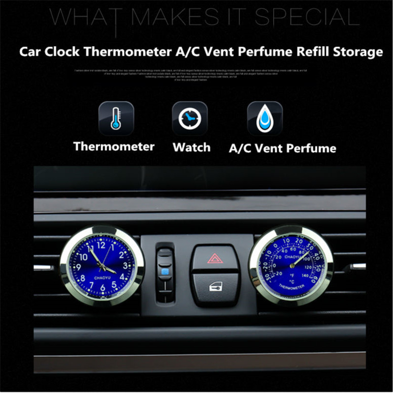 Car Clock Watch Thermometer Air Outlet A/C Vent Clip Perfume Refill Storage Fragrance Reserve for All Vehicles