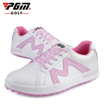 цена на PGM Women Golf Genuine Leather Shoes Outdoor Sports Waterproof Breathable Shoes Ultralight Water non-slip No Spikes Golf Shoes