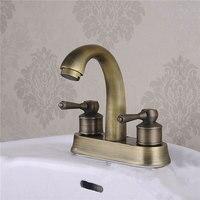 Европейский стиль архаизмы медных свинца двойной отверстие умывальник мыть руки унитаз холодной и горячей воды кран