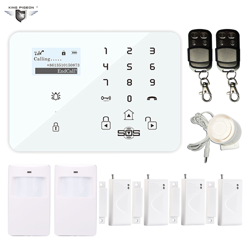 GSM Burglar Alarm Wireless&Wired SMS Home Security System Android IOS APP LCD Display PIR Motion Door Sensor Remote Control K9J fuers quad band gsm pstn burglar alarm security system wireless app control high grade door sensor motion detector home alarm