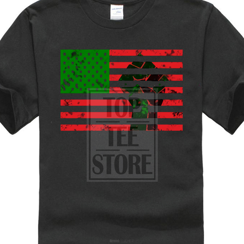 2018 Short Sleeve O Neck Casual MenS T Shirt Casual Short Sleeve For Men Clothing Summer Pan African Flag With Fist MenS Tees