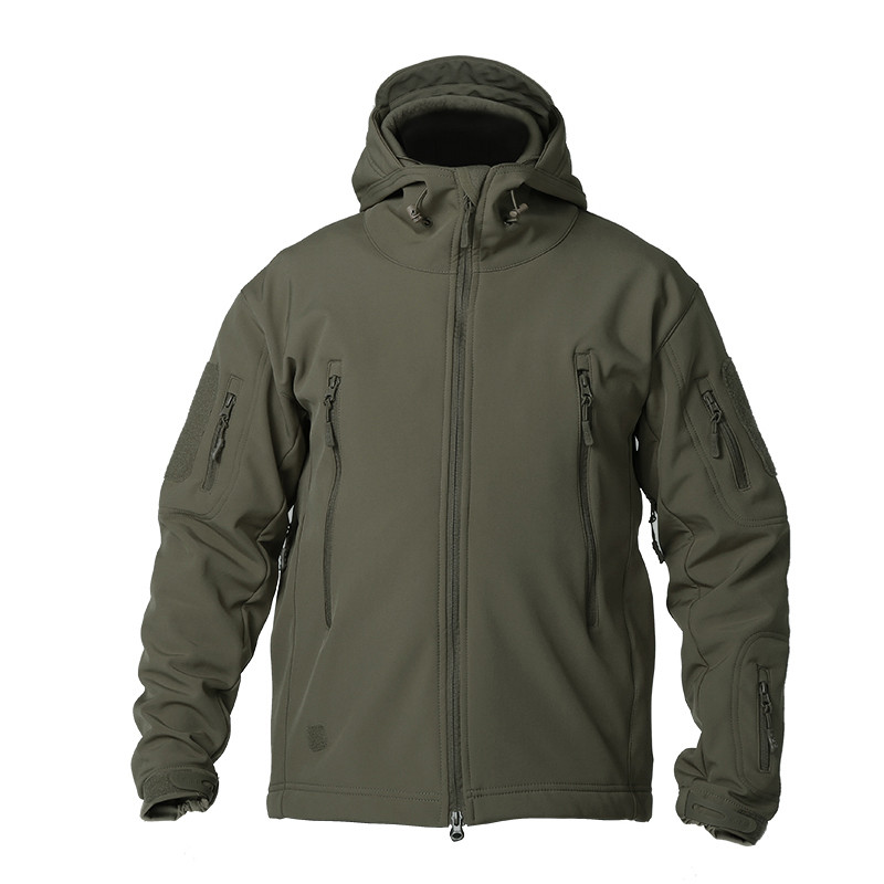 outdoor shark skin soft shell jacket men's camping waterproof windproof sweater sports tactical breathable super elasticity coat