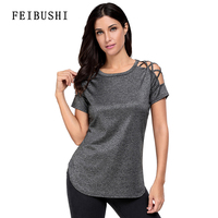 FEIBUSHI Elegant O Neck Black Women Loose Top Short Sleeve Sexy Strapless Hollow Out Casual Open