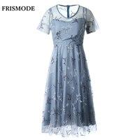 2017 sommer Desinger zweiteilige Set Kleid Anzug frauen Elegante Blau Grau Stickerei Schwung Midi Kleid Hohe Qualität Party Kleider