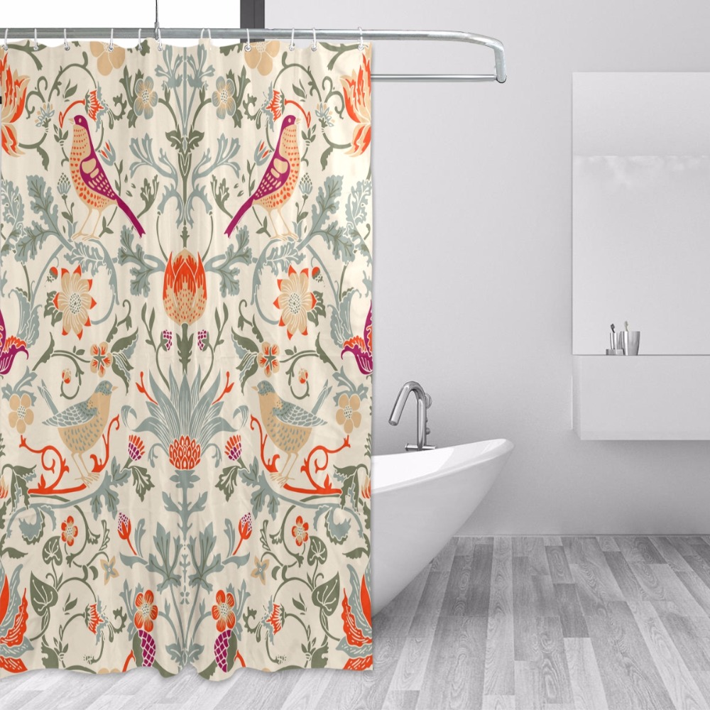 Wooden Shower Curtain Spring Flowers Branches Print for Bathroom