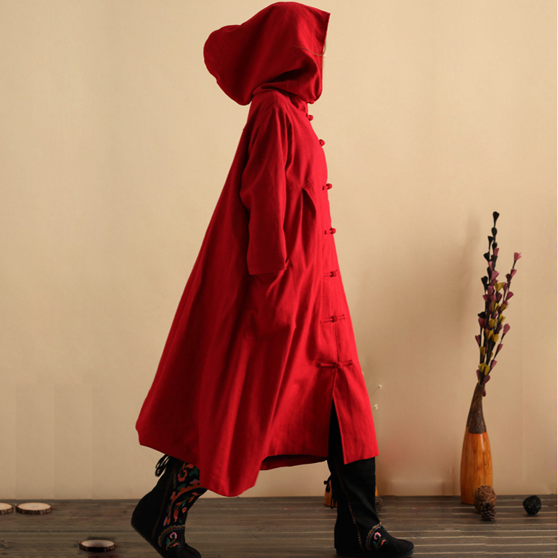 New Winter Autumn Retro Hooded Cotton Linen Trench Coat Wizard Long Robe Gown Galabia Dust Coat