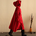 New Winter Autumn Retro Hooded Cotton Linen Trench Coat Wizard Long Robe Gown Galabia Dust Coat  Windbreaker Jaqueta Feminina