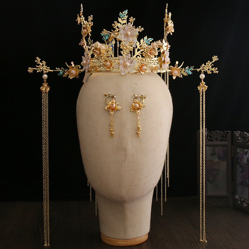 PEORCHID Golden Wedding Hair Jewelry Accessories Luxury Flower Tassel Bridal Headdress Chinese Ancient Style Queen Round Crown