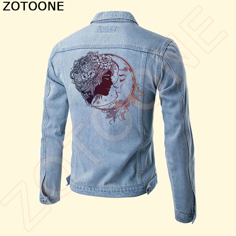 ZOTOONE Beautiful Moon Lover Flower Round Patches for Clothes A level Washable Stickers Iron on Patch DIY Accessory Decoration C in Patches from Home Garden