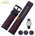 Genuína pulseira de couro pulseira de relógio pulseira de 22mm mens cintos de banda pulseira de pulso preto azul laranja vermelho costurado