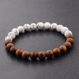 Image 2 - 8mm New Natural Wood Beads Bracelets Men Black Ethinc Meditation White Bracelet Women Prayer Jewelry Yoga Bracelet Homme