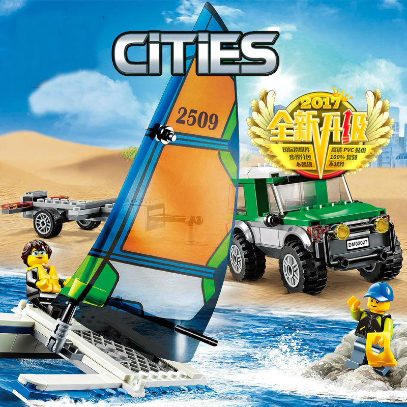 CHINA BRAND 02027 Educational bricks Toys  DIY Building Blocks Compatible with Lego City Great Vehicles 4x4 with Catamaran 60149  china brand l0146 educational toys for children diy building blocks 00146 compatible with lego