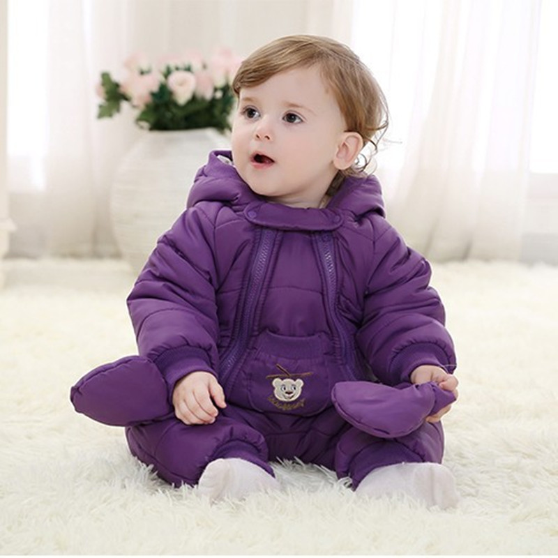ФОТО 2016 Winter Baby Coverall Clothing Cotton Thick Warm Baby Clothes Newborn Baby Girl  Outside winter Baby Boy Romper For 0-2year