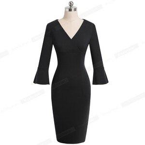 Image 5 - Nice forever Elegant Pure color Sexy V neck vestidos Business Party Bodycon Vintage Women Sheath Dress B541
