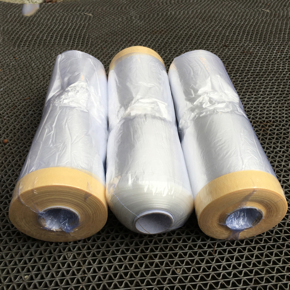 3.6'x 98' /Roll PVC Clear Car Spray Paint Protection Film Pre Taped Plastic Drop Film For Car Paint Dust Protection MO 107-in Paint Cleaner from Automobiles & Motorcycles
