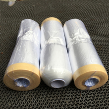 3.6x 98 /roll PVC clear car spray paint protection film Pre-Taped Plastic Drop for dust MX-106P