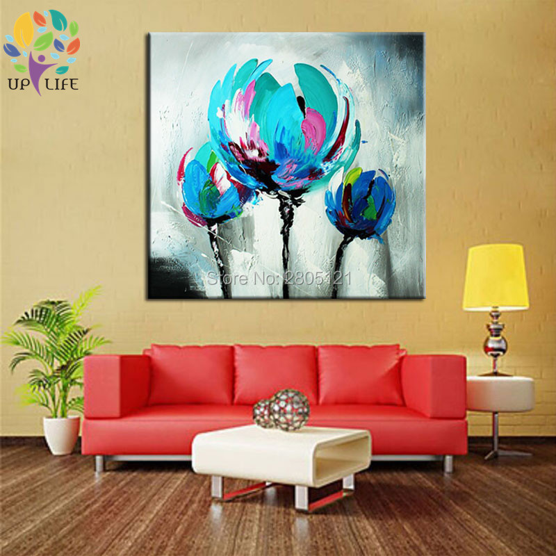 100% Hand made promotion bloom blue Flowers canvas painting Abstract - Home Decor - Photo 6