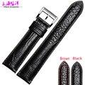 Высокой Quality20 22 мм черный коричневый мягкой Sweatband кожаный ремешок стальной пряжкой наручные часы группа для AR1736 AR1735 AR1737
