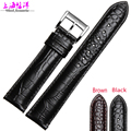 High Quality20 22mm Black Brown Soft Sweatband Leather Strap Steel Buckle Wrist Watch Band for AR1736 AR1735 AR1737