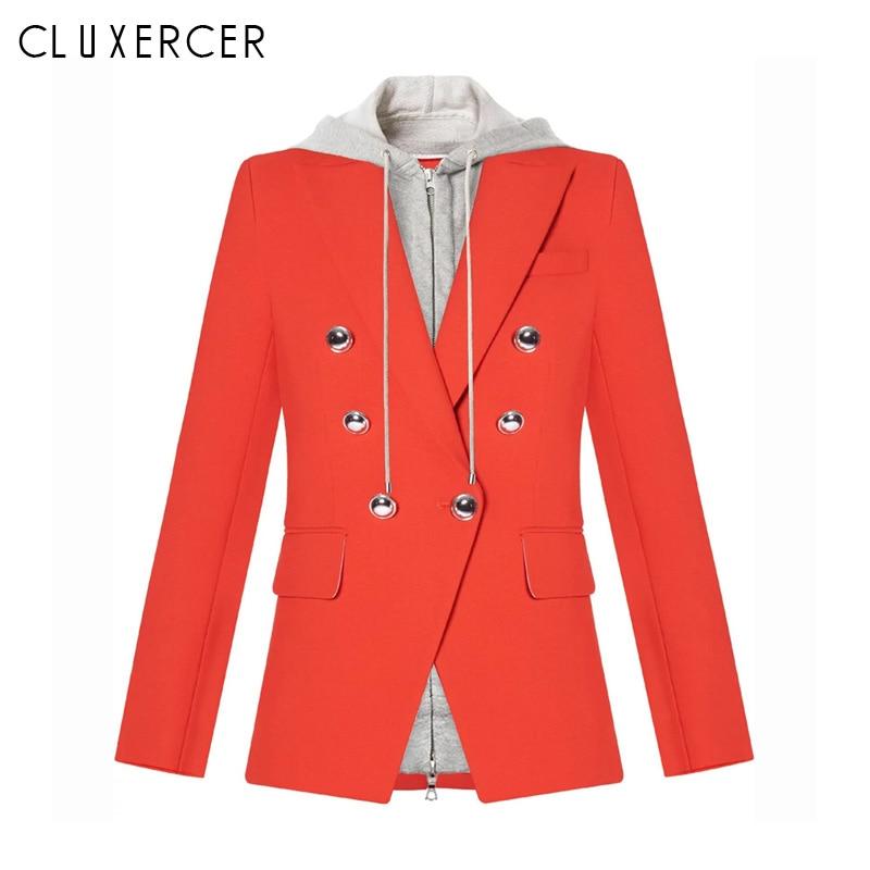 Woman Blazer 2019 New Fashion Red Hooded Double Breasted Blazer Feminino Casual Women Blazers And Jackets