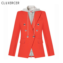 Woman Blazer 2019 New Fashion Red Hooded Double Breasted feminino Casual Women blazers and jackets