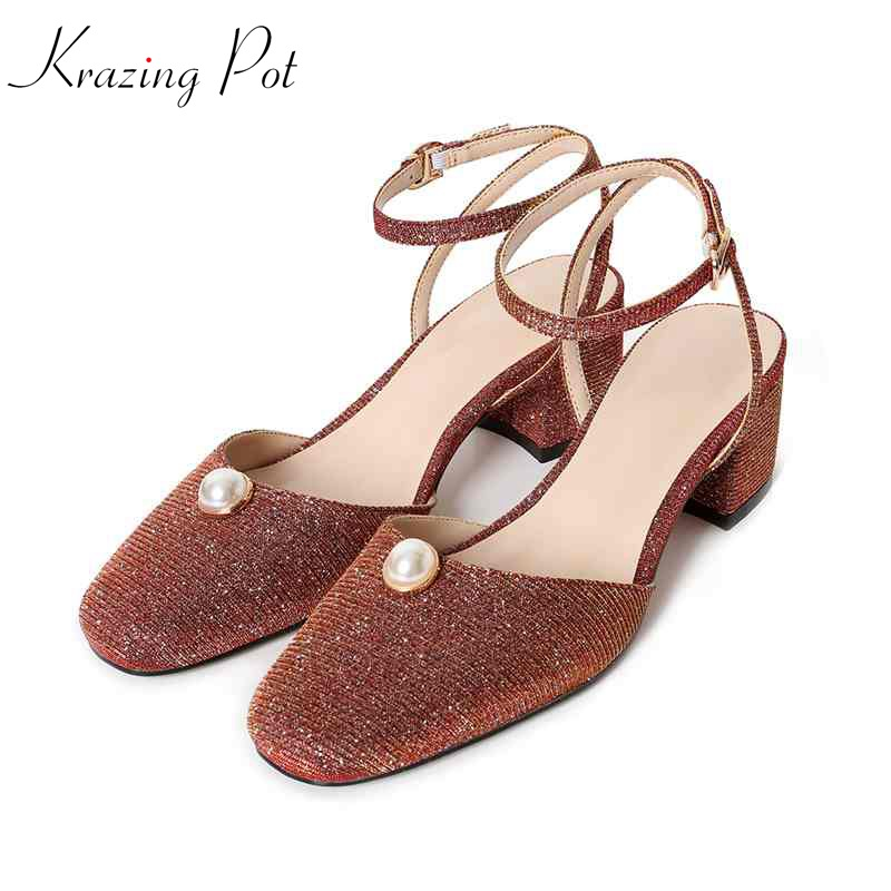 Krazing pot new 2018 fashion round toe ankle buckle straps pearl bling women sandals high heels sequined cloth summer shoes L38 krazing pot new genuine leather peep toe ankle straps rivets fashion women sandals women square high heels summer lady shoes l20