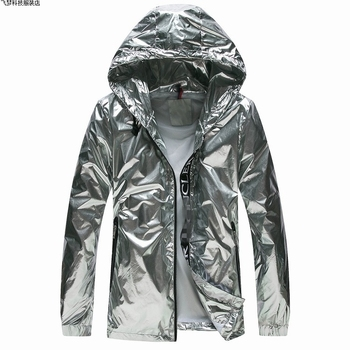 Dropshipping Silver Jacket Men Handsome Sunscreen Clothes Hip Hop Outwear Jackets Street style hipster fashion black tech coat