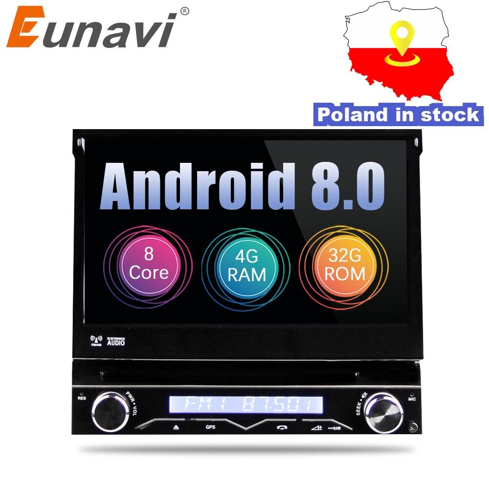 Eunavi 4G di RAM 1 Din Android 8.0 Octa 8 Core Lettore DVD Dell'automobile Per Universale di Navigazione GPS Stereo Radio WIFI MP3 Audio USB SWC