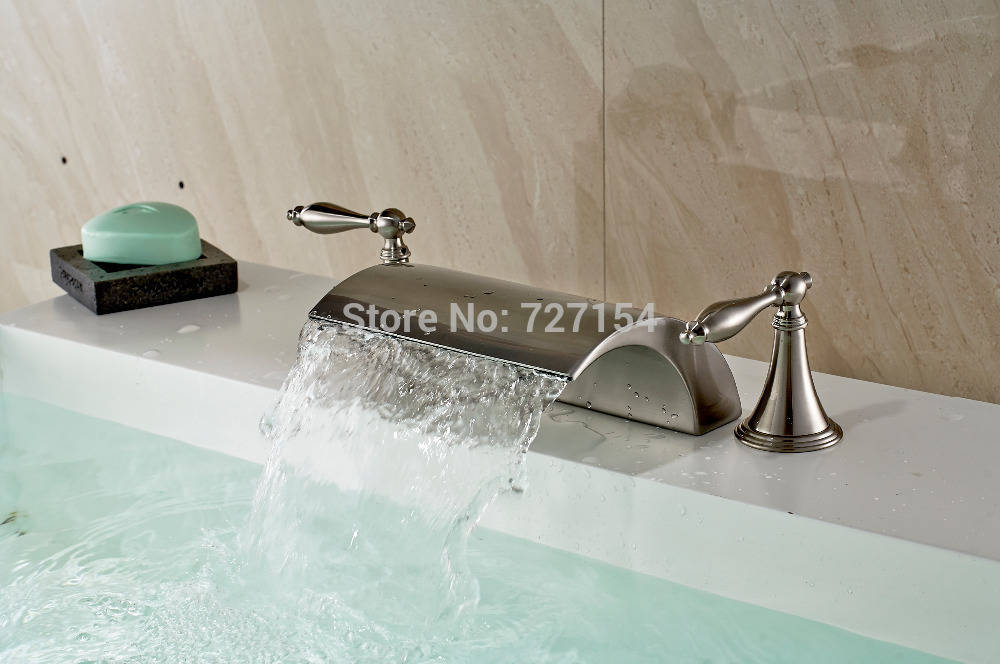 Free Shipping! New Wide Spout Waterfall Basin Faucet Dual Handles Sink Mixer Tap Nickel Brushed стоимость